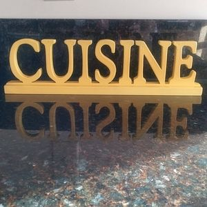Cuisine Wooden Yellow Sign